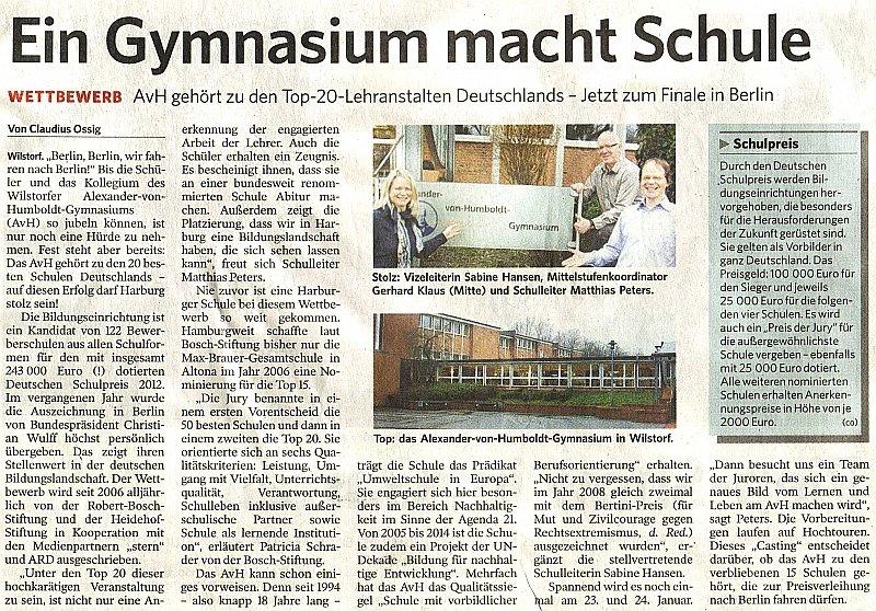 10.01.12 - Harburger Anzeigen und Nachrichten - Ein Gymnasium macht Schule