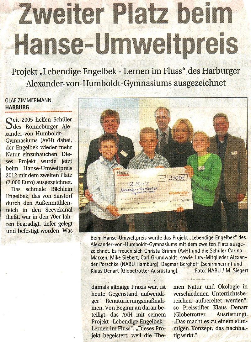 12.12.12 - Elbe-Wochenblatt - Zweiter Platz beim Hanse-Umweltpreis