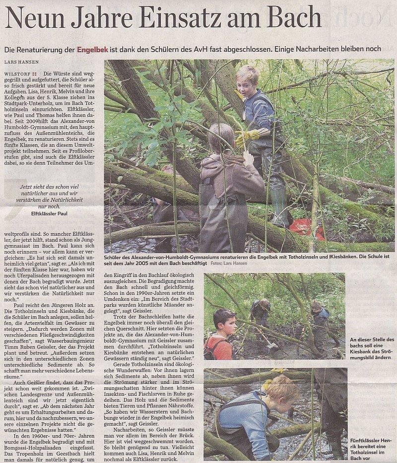17./18.05.14 - Hamburger Abendblatt - Neun Jahre Einsatz am Bach
