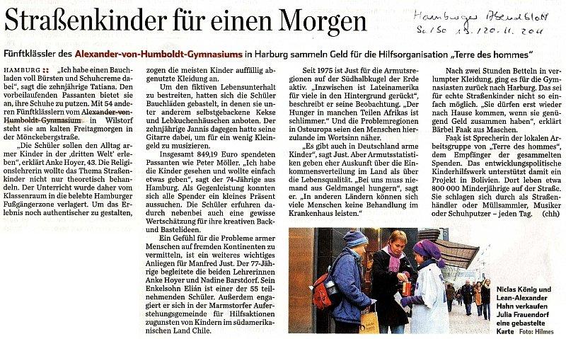 19.11.11 - Hamburger Abendblatt - Straßenkinder für einen Morgen