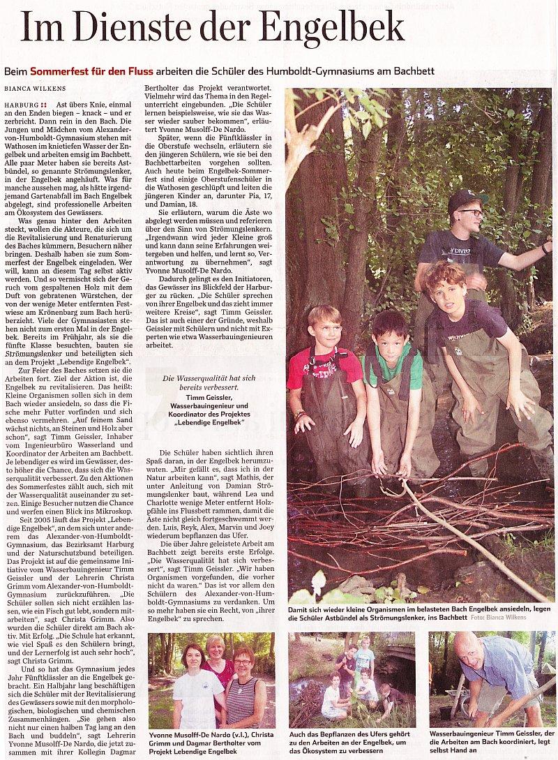 26.08.13 - Hamburger Abendblatt - Im Dienste der Engelbek