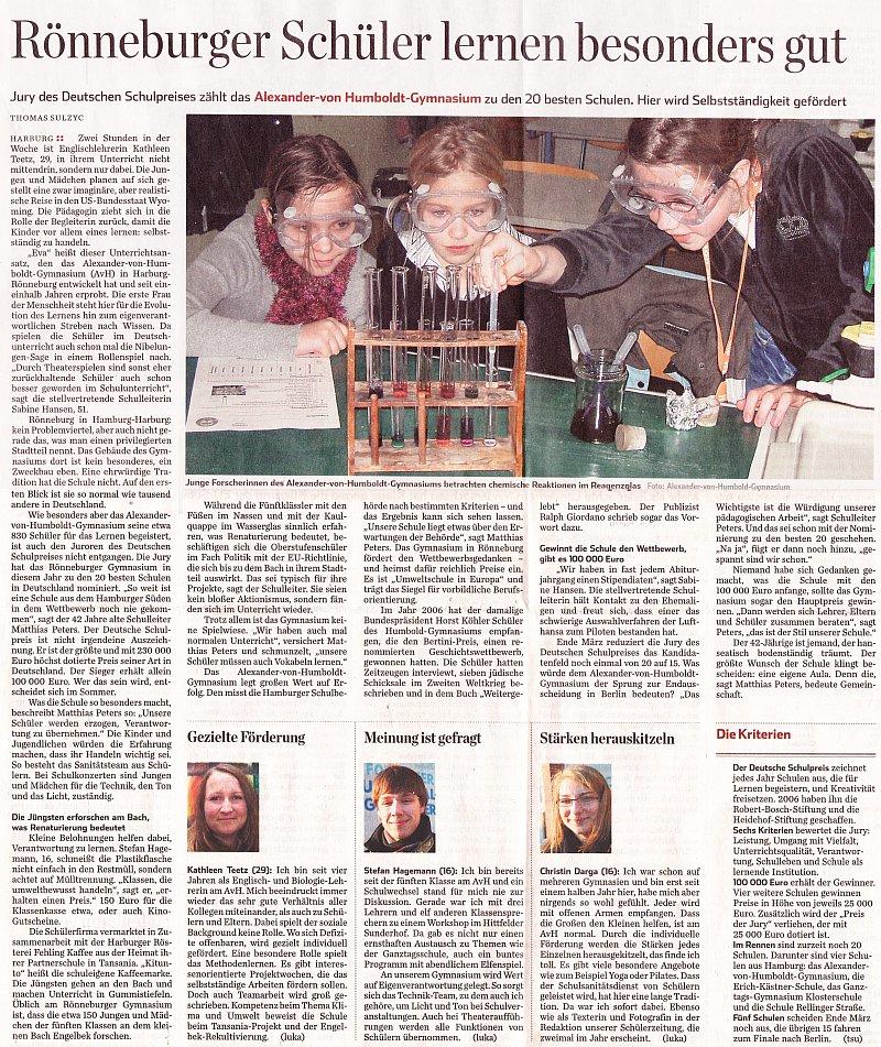 30.01.12 - Hamburger Abendblatt - Rönneburger Schüler lernen besonders gut