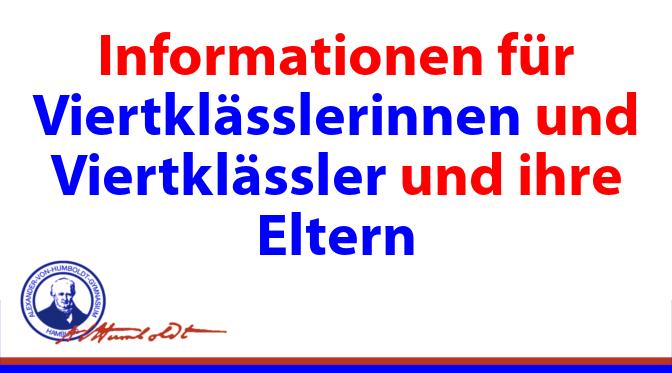 Informationen für Viertklässlerinnen und Viertklässler und ihre Eltern